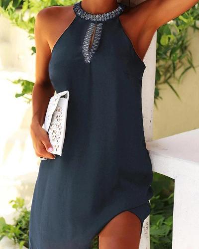Women's  Front Cut-Out Detail Sleeveless Mini Dress