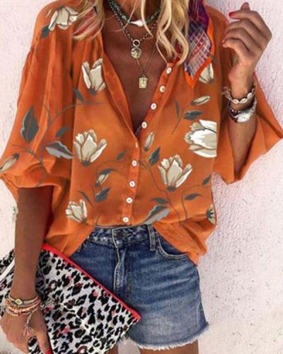 Plus Size Fashion 3/4 Sleeve Flora Blouse