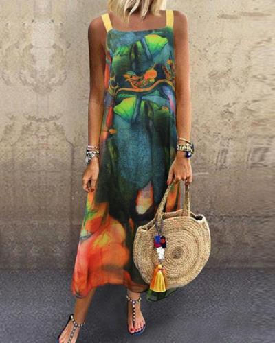 Comfy Breathable Sleeveless Chiffon Holiday Floral Slit Dress