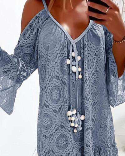 Lace Crochet 3/4 Sleeves Off Shoulder Tunic Dresses