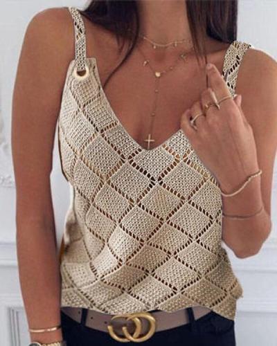 Women Hollow Out Diamond Sexy Vest
