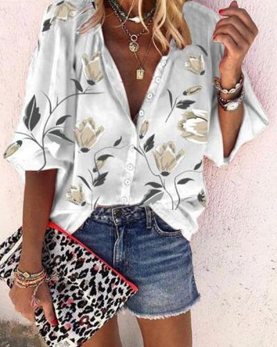 Plus Size Fashion 3/4 Sleeve Flora Blouse