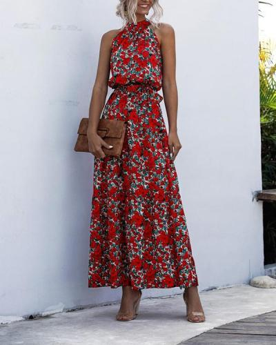Vacation Halter Printed Sleeveless Dress