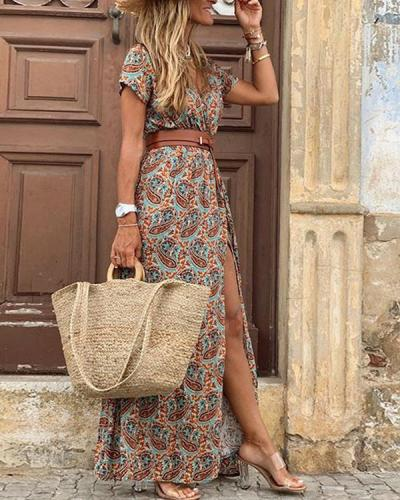 Women Casual Vacation Printed Maxi Dresses