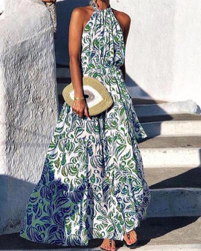Fashion Sleeveless Holiday Print Dress