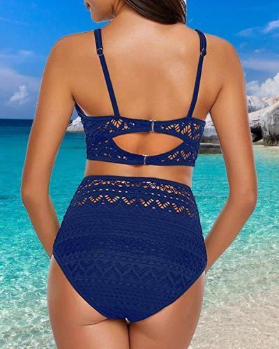 Solid Color Boho Crochet Bikini