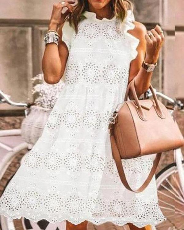 White Casual Tunic Round Neckline Shift Dress