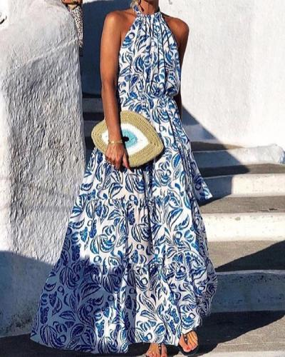Fashion Sleeveless Holiday Print Dress
