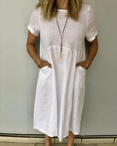 Women Summer Pockets Solid Linen Dresses