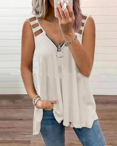Sexy Solid V Neck Hollow Strap Zipper Tank&Vest Tops