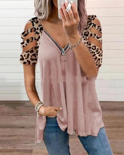 Women's Leopard V-neck Hollow Sleeve Zipper Short-sleeved Tops