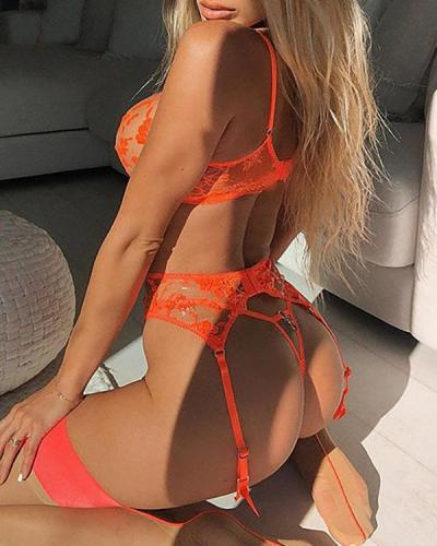 Orange Flower Embroidered Lace Lingerie Set