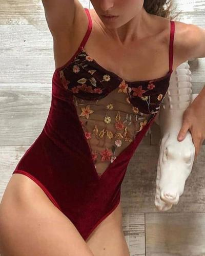Velvet Embroidery Hollow Bodysuit Sexy Teddy Lingerie
