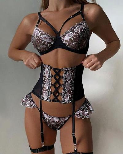 Embroidered Lace Up Waist Trainer Lingerie Set