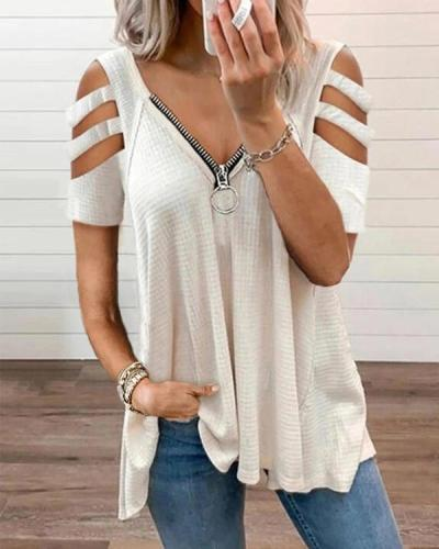 Women's Solid Color V-neck Hollow Sleeve Zipper Short-sleeved Tops