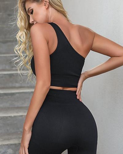 Women's Oblique Shoulder Sports Fitness Yoga Suit
