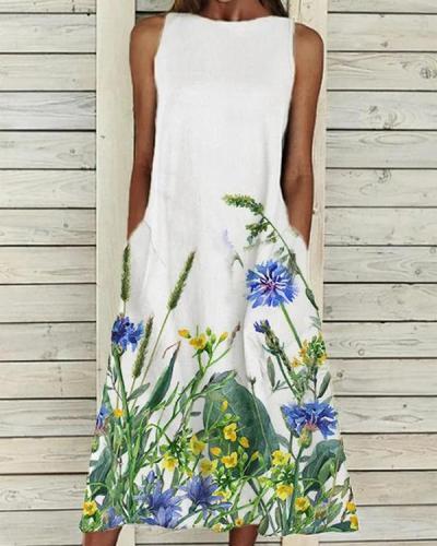 Elegant Floral Crew Neck Dresses