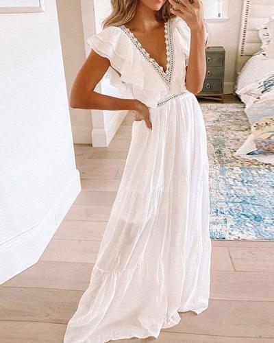 Women Deep V Neck Ruffle Patchwork Elegant Dress