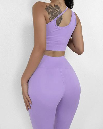 Oblique Shoulder Sports Fitness Yoga Suit
