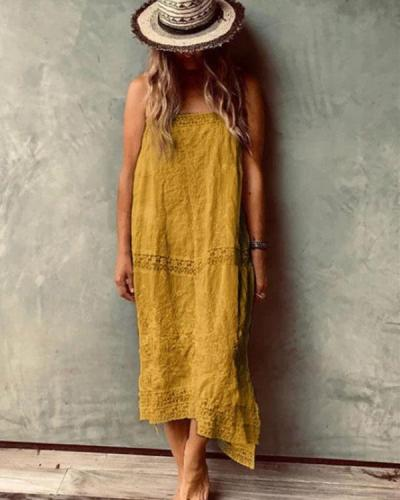 Fashion Solid Casual Loose Sling Beach Dress