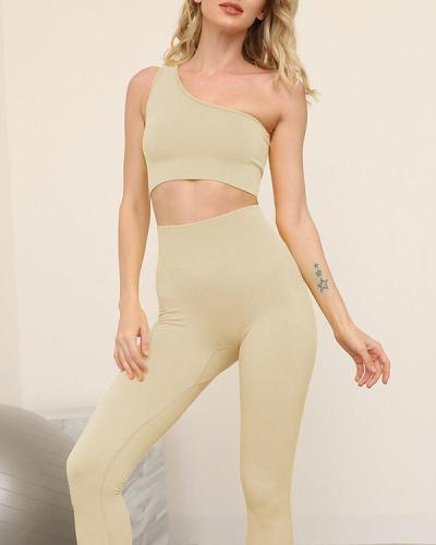 Women's Oblique Shoulder Sports Fitness Yoga Suit