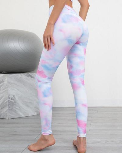 High Waist Printed Oblique Shoulder Sports Fitness Yoga Suit