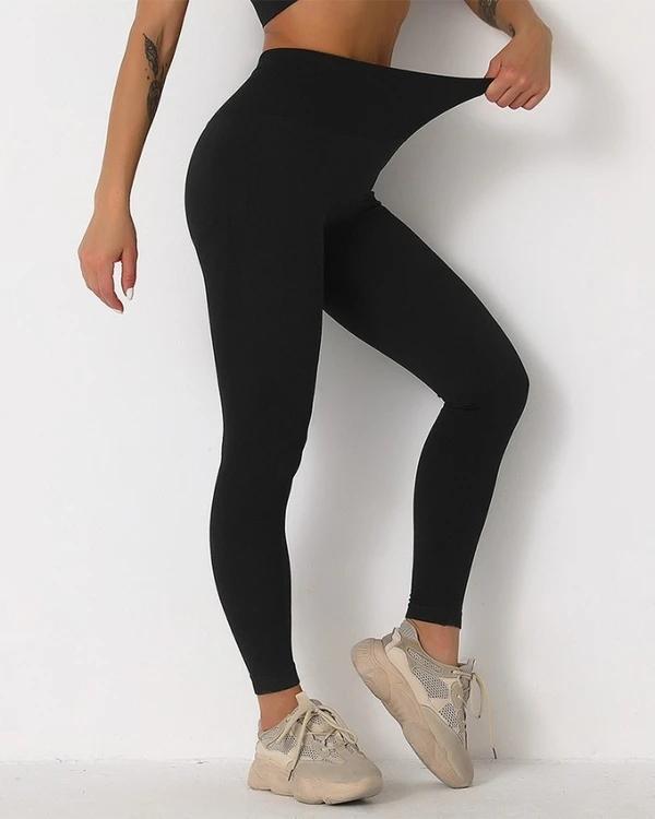 Solid High Elastic Breathable High Waist Active Leggings
