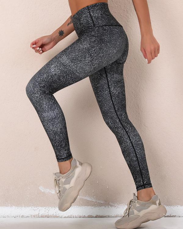 Black Slim Print High Elastic Active Pants leggings
