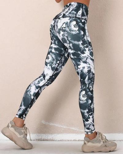 All Over Print High Waist Skinny Sport Yoga Pants Leggings
