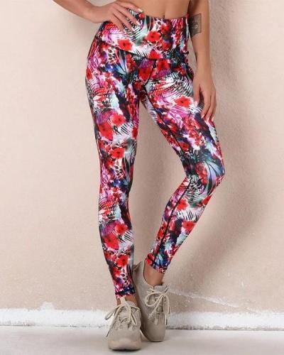 Multicolor Digital Print Sport Yoga Pants