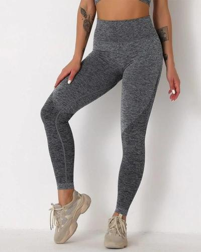 Solid High Elastic Breathable High Waist Active Leggings
