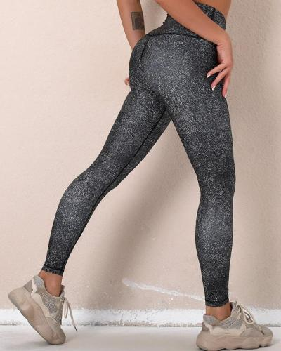 Black Slim Print High Elastic Active Pants leggings