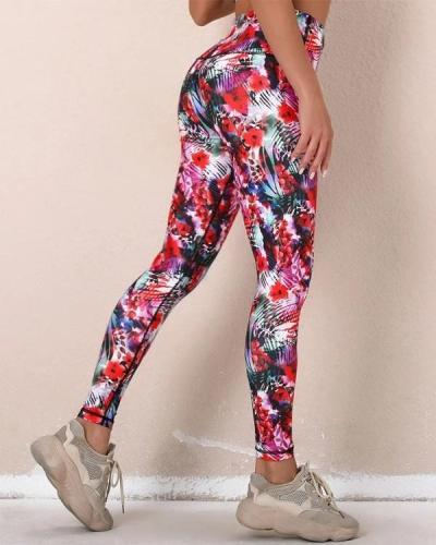 Multicolor Digital Print Sport Yoga Pants