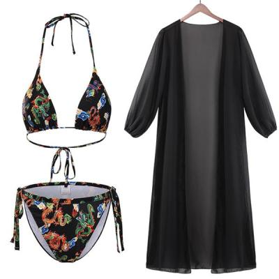 Lovely Sexy Floral Print Three-piece Swimsuit(With Cover-up)