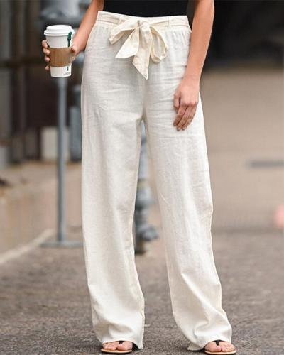 Plus Size Women's Linen Cotton Straight Pants