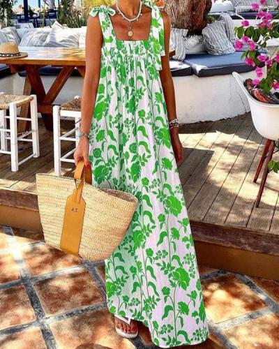 Bohemian Print Patch Sleeveless Maxi Summer Dress