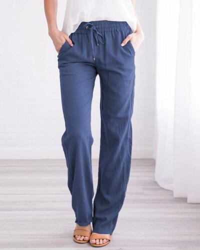 Women's Linen Cotton Straight Pants