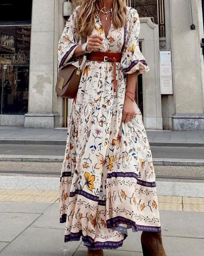Bohemian Floral Elegant V Neck Printed Maxi Dress