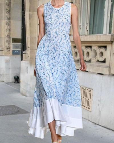 Elegant Sleeveless Round Neck Printed Maxi Dress