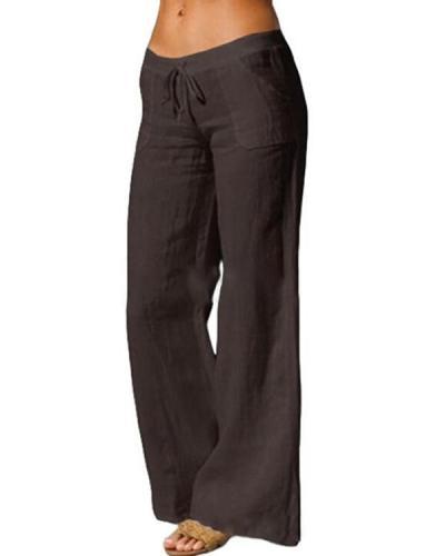 Pockets Paneled Lace-Up Cotton-Blend Casual Pants