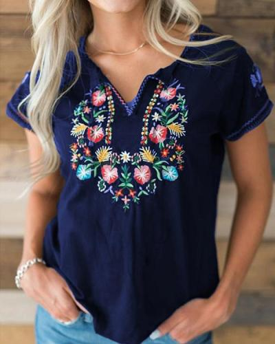 Ethnic Fashion Short Sleeve V-Neck Floral Embroidered T-Shirt
