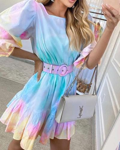Tie Dye Print Puff Sleeve Round Neck Summer Dress
