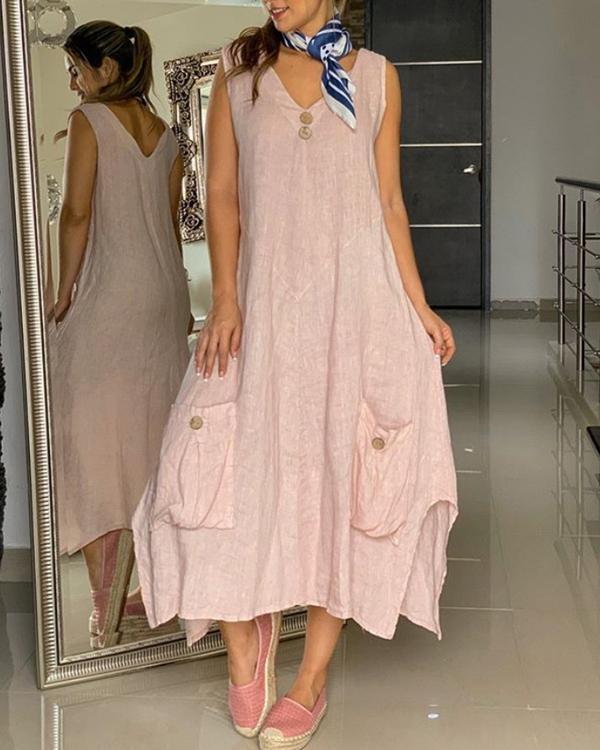 Pocket Sleeveless Maxi V Neck Solid Color Button Dresses