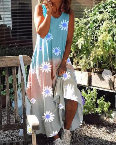 Sunflower Gradient Color Comfy Round Neck Sleeveless Maxi Dress