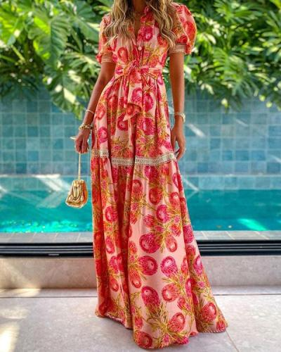 Temperament Printed Long Bohemian Dress
