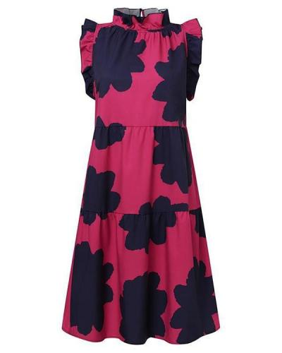 Chic Floral Short Sleeve Midi Dress