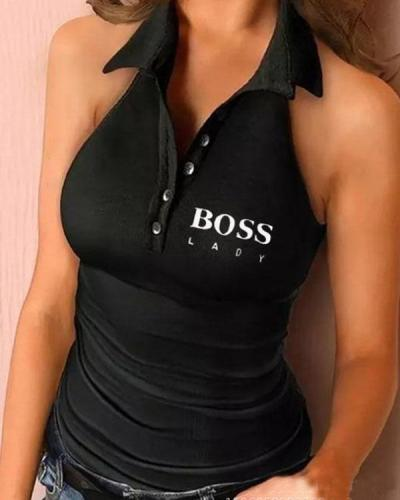 BOSS LADY Letter Print Button V Neck Tank Top