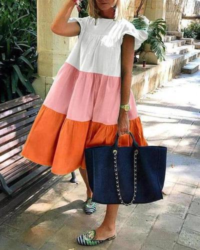Women's Casual Color Block Panel Mini Dress