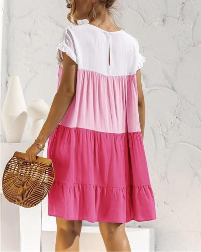 Color Black Ruffles Mini Dress