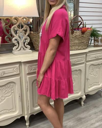 Women Daytime Basic Solid Summer Dress